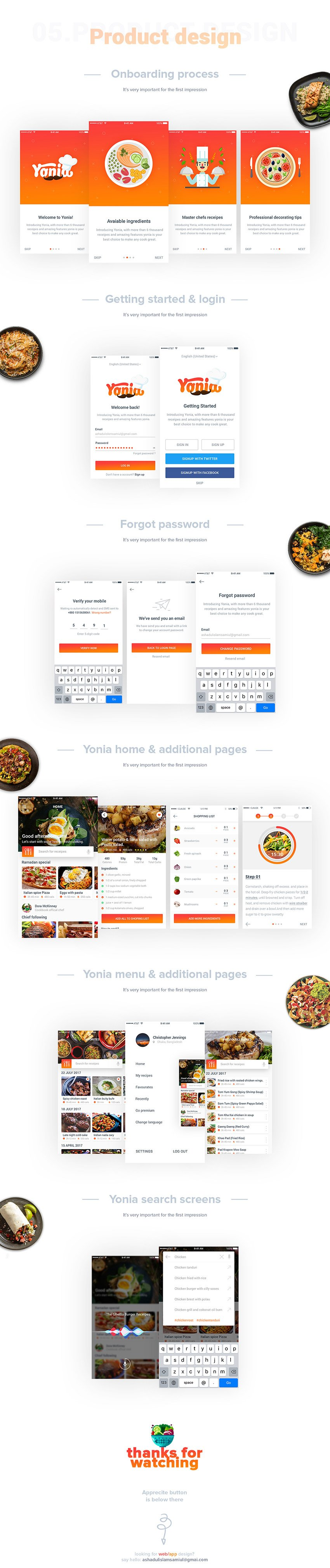 Yonia Food Recipes Free iOS UI Kit for Adobe Xd and Sketch
