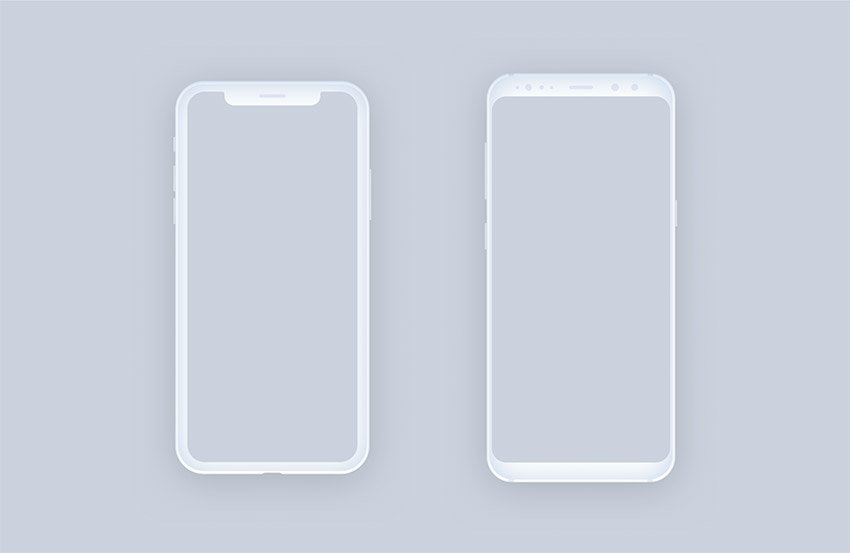 Clean and Minimal Mockups for Figma - iPhone X and Samsung Galaxy S8 - Light Devices