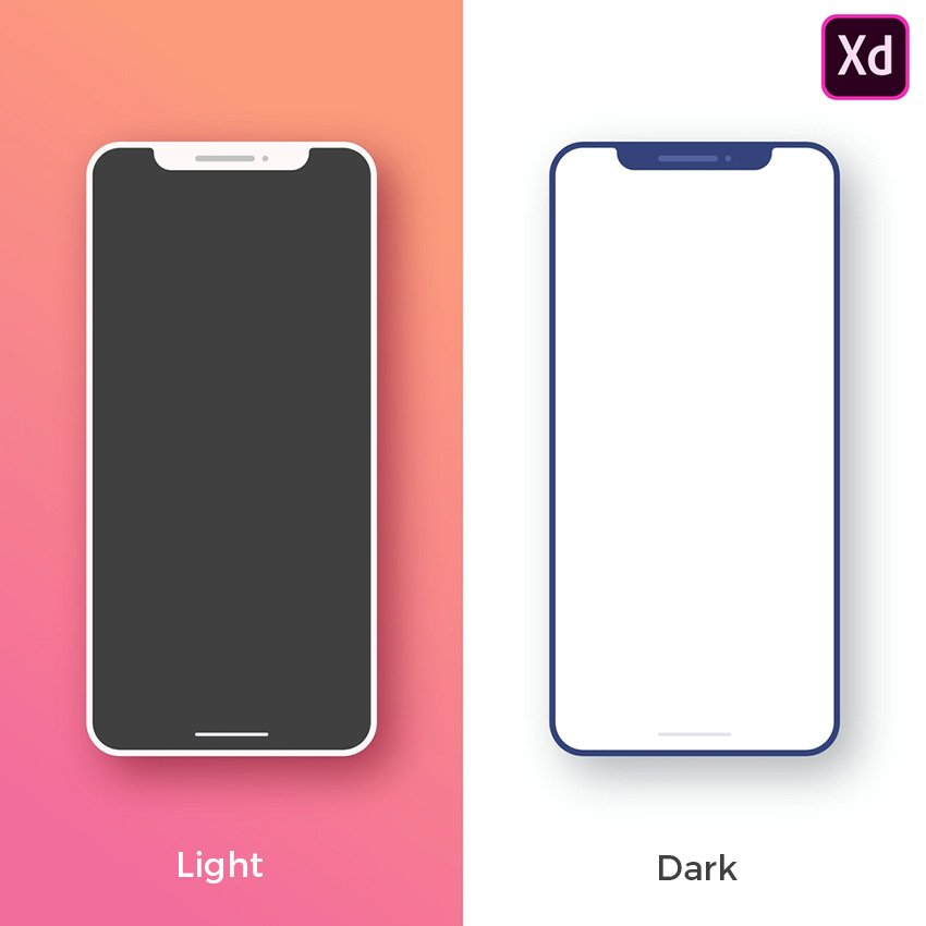 iPhone X Minimal Mockup for Adobe Xd - Light and Dark