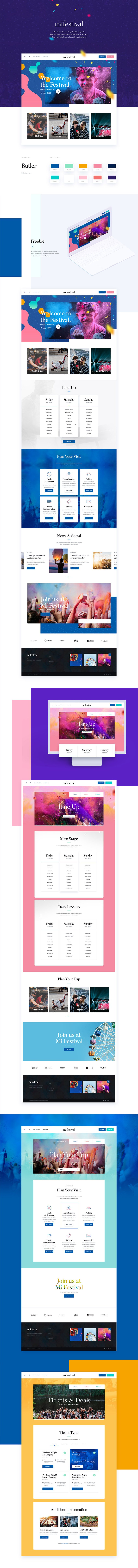 MI Festival Free Web Design Template - 7 Free Pages Inluded
