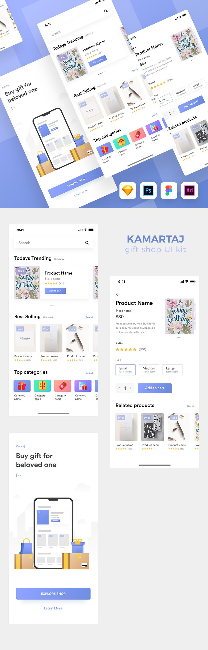 Kamartaj Gift Shop Mobile UI Kit for Figma, Sketch, PSD and Xd - Free Download