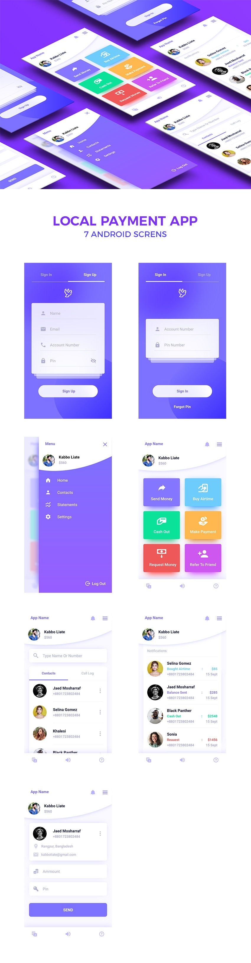 Local Payment App Design Concept for Adobe Xd - 7 Screens