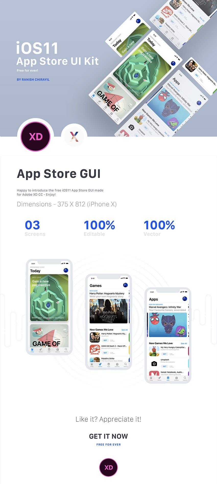 iOS 11 App Store UI Kit - 3 Free Screens for Xd - FreebiesUI