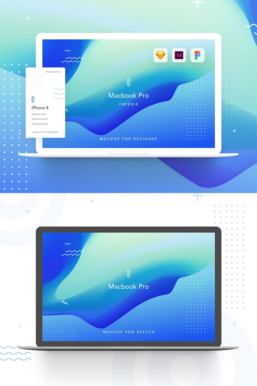 Macbook Pro Free Mockup for Figma, Adobe Xd and Sketch - Design Asset