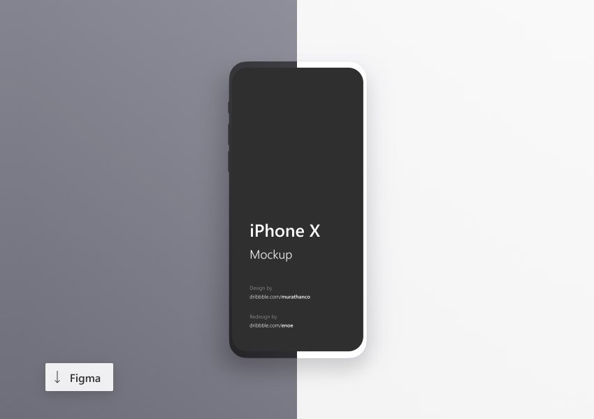 iPhone X Minimalistic Mockups White and Dark for Figma
