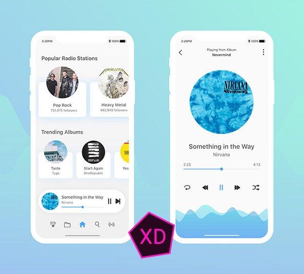 music-player-app-design-ui-kit-adobe-xd-free-download - FreebiesUI