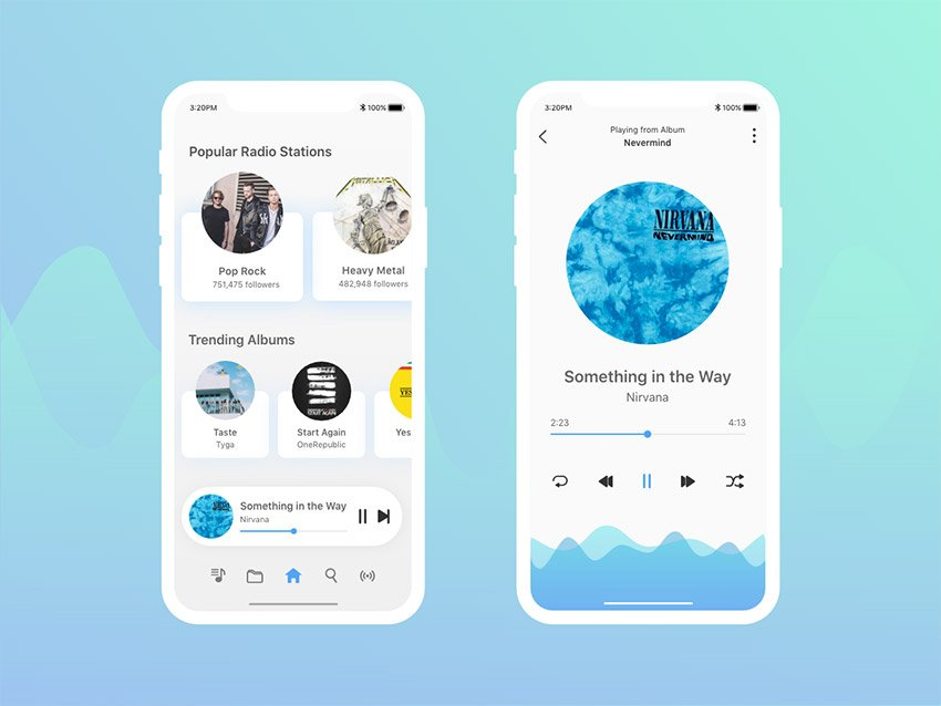 Music Player App UI Kit Design for Adobe Xd