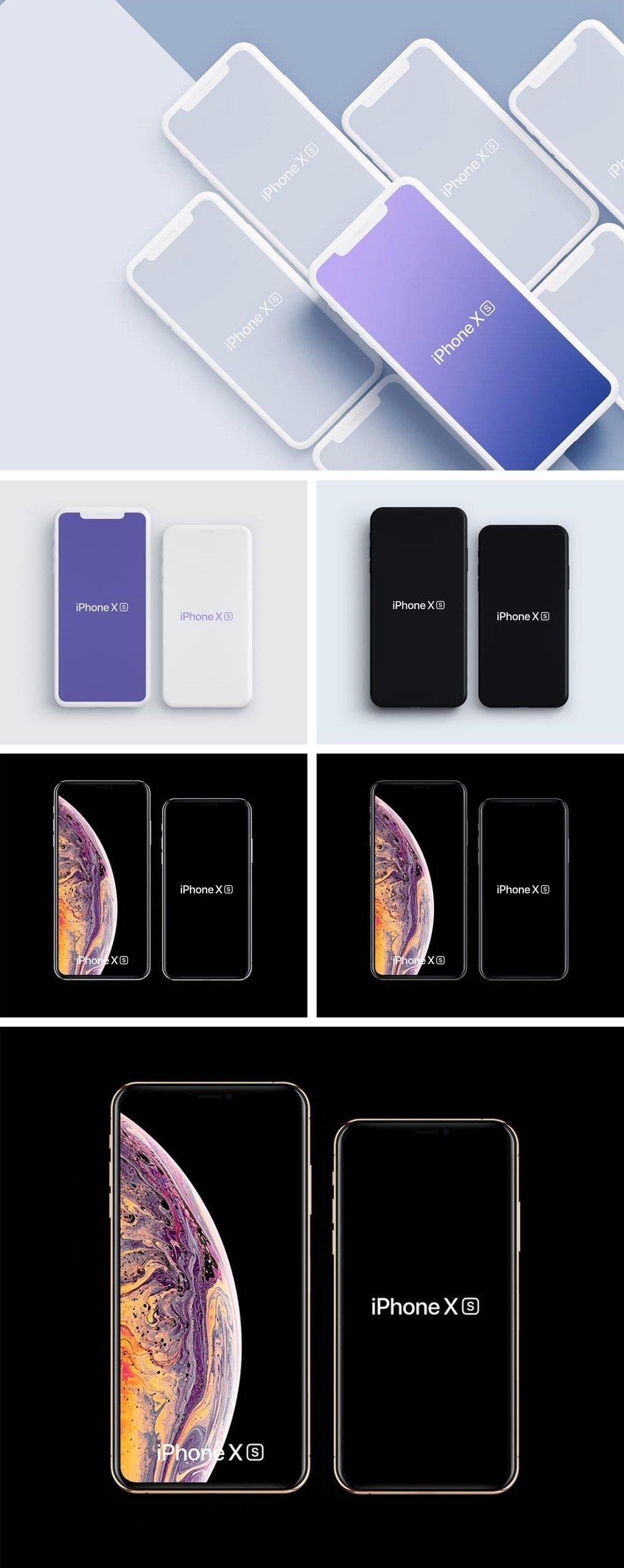 Free Template iPhone Xs 2018 Mockup