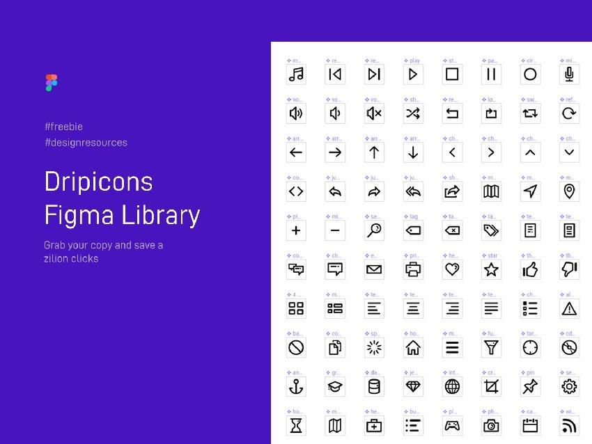 200 Dripicons Figma Library