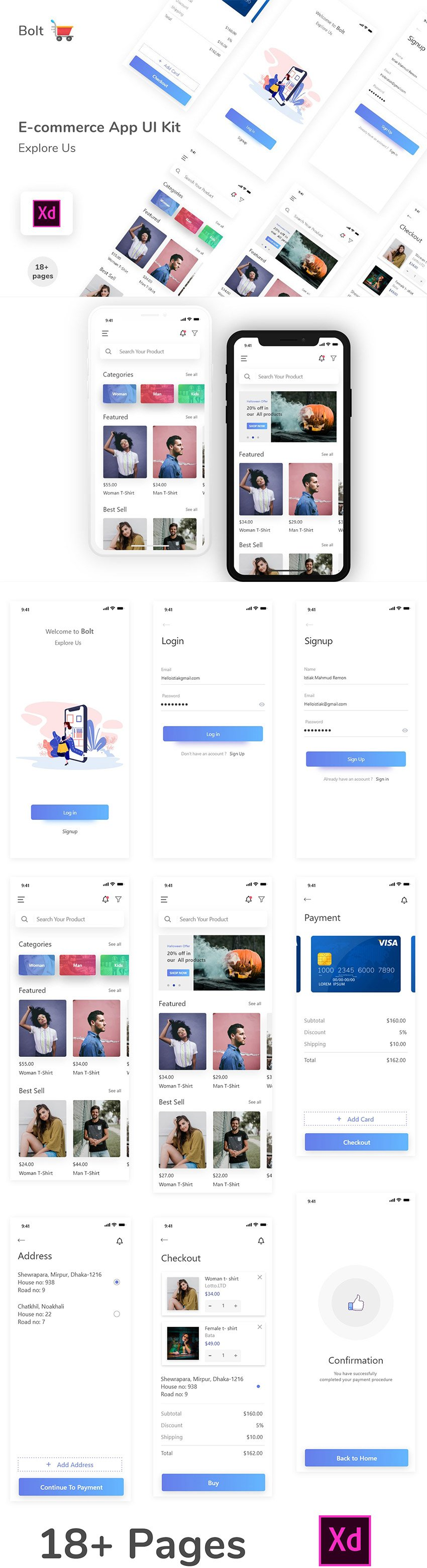 E-commerce UI App Design for Xd - 18 Free Screens