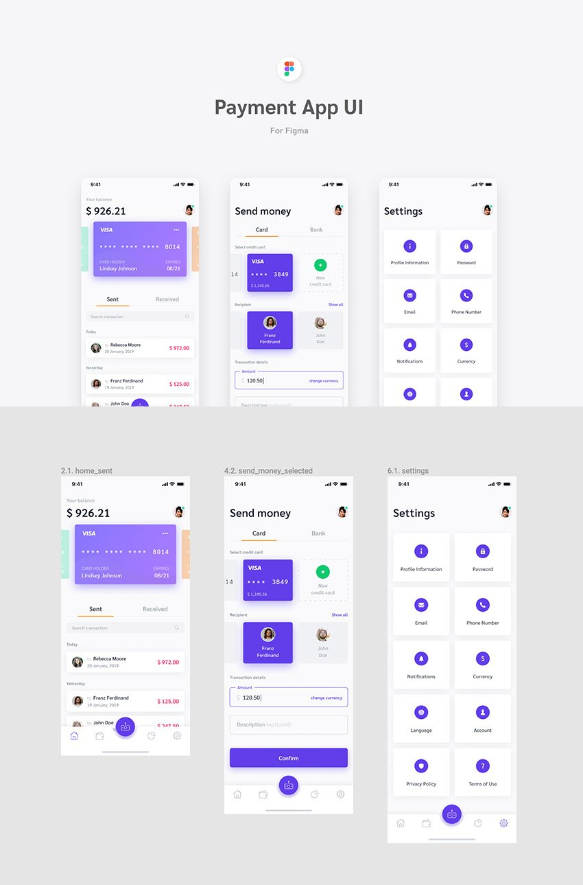 Figma Payment App UI Kit for Download