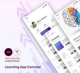 Learning App Design UI for Xd - 3 Free Screens
