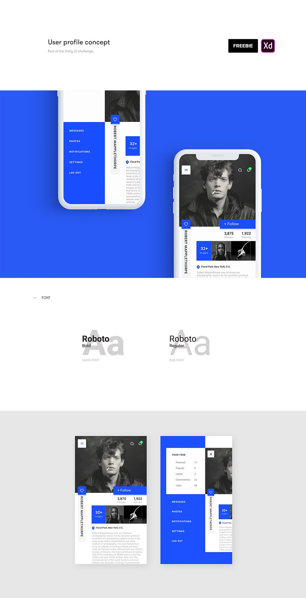 User Profile UI Kit for Adobe Xd Designers