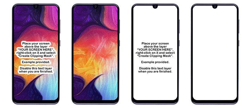 4 Samsung Galaxy A50 PSD Mockups