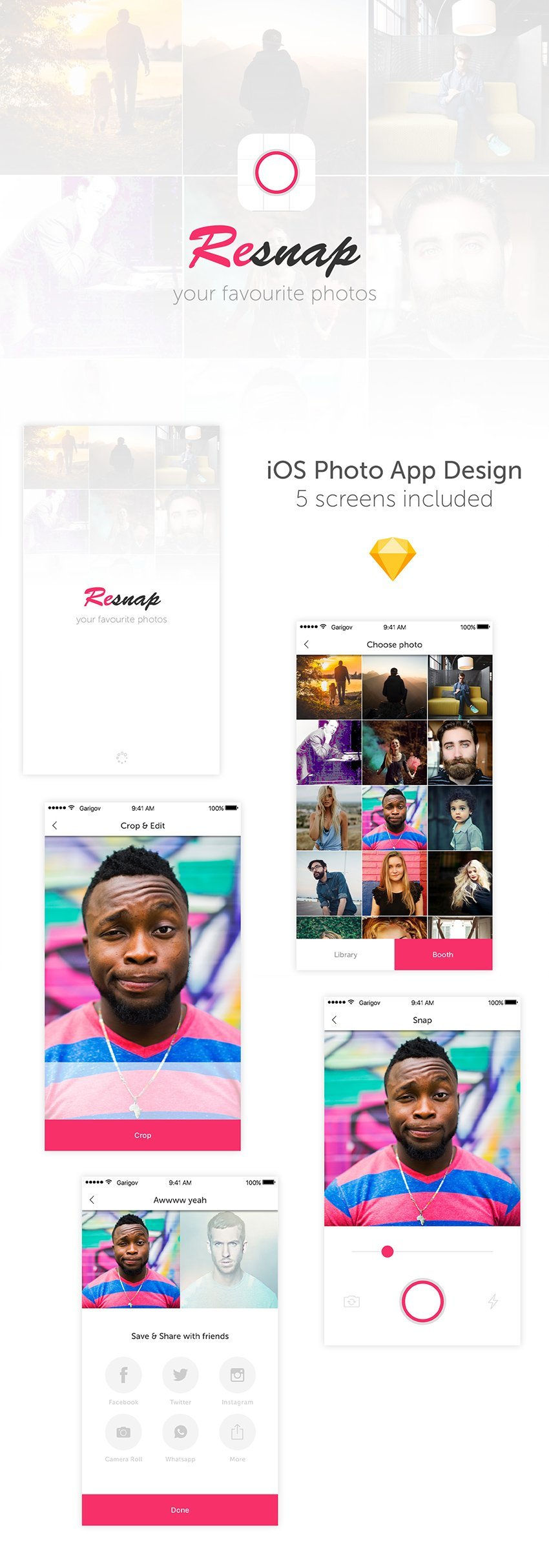 Resnap Photo Editor App Design - Sketch app