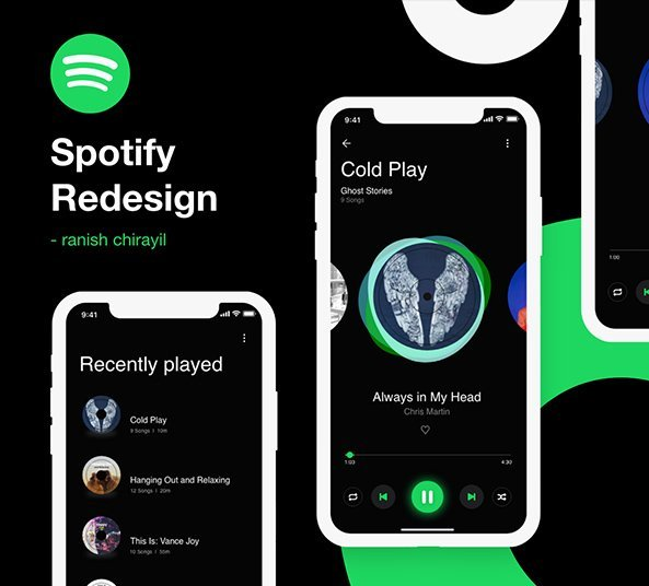 Spotify App Redesign - Free UI resource for Xd - FreebiesUI