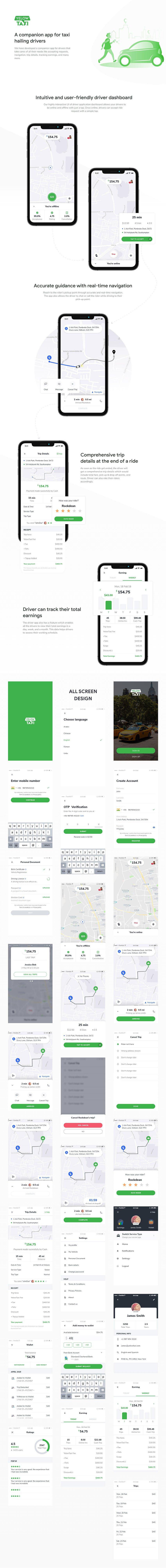 Uber Taxi App Design for Xd