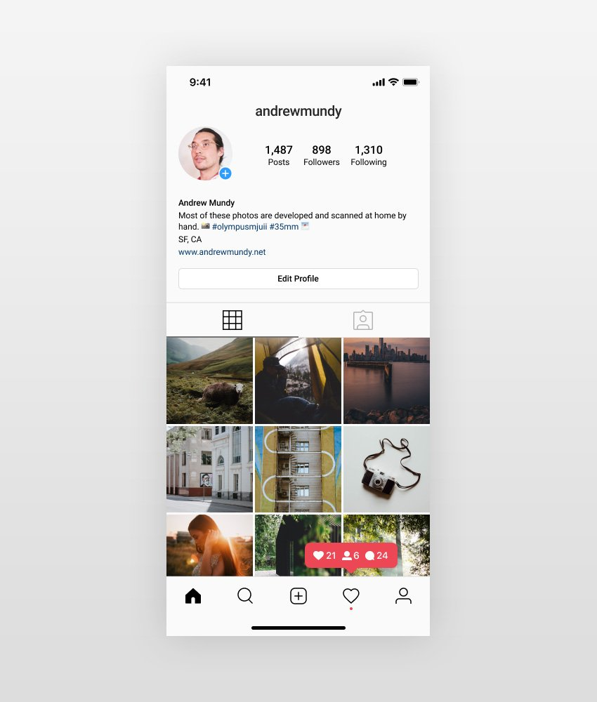 Instagram UI Mockup - Profile Screen for Figma
