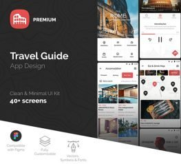 Travel Guide App Design UI Kit - 40 Screen for Figma