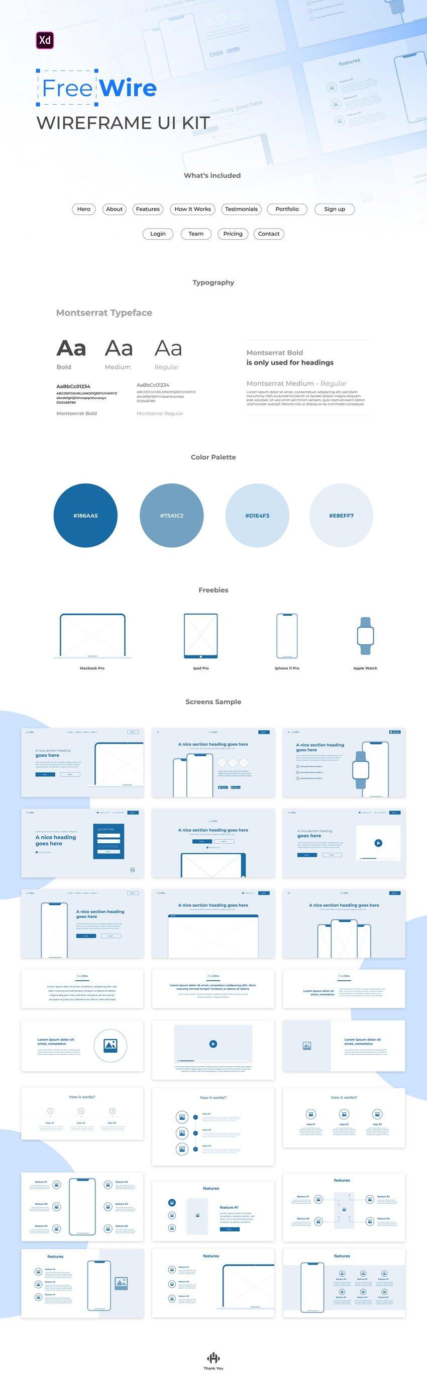 Free Wireframe UI Kit for Adobe Xd designers