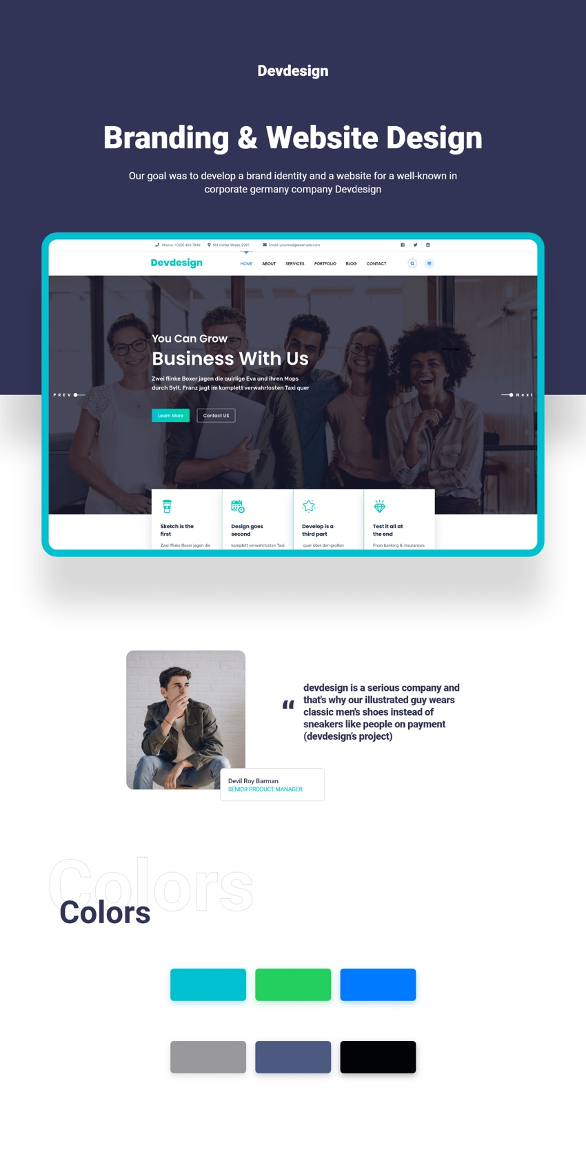 Corporate landing page for xd