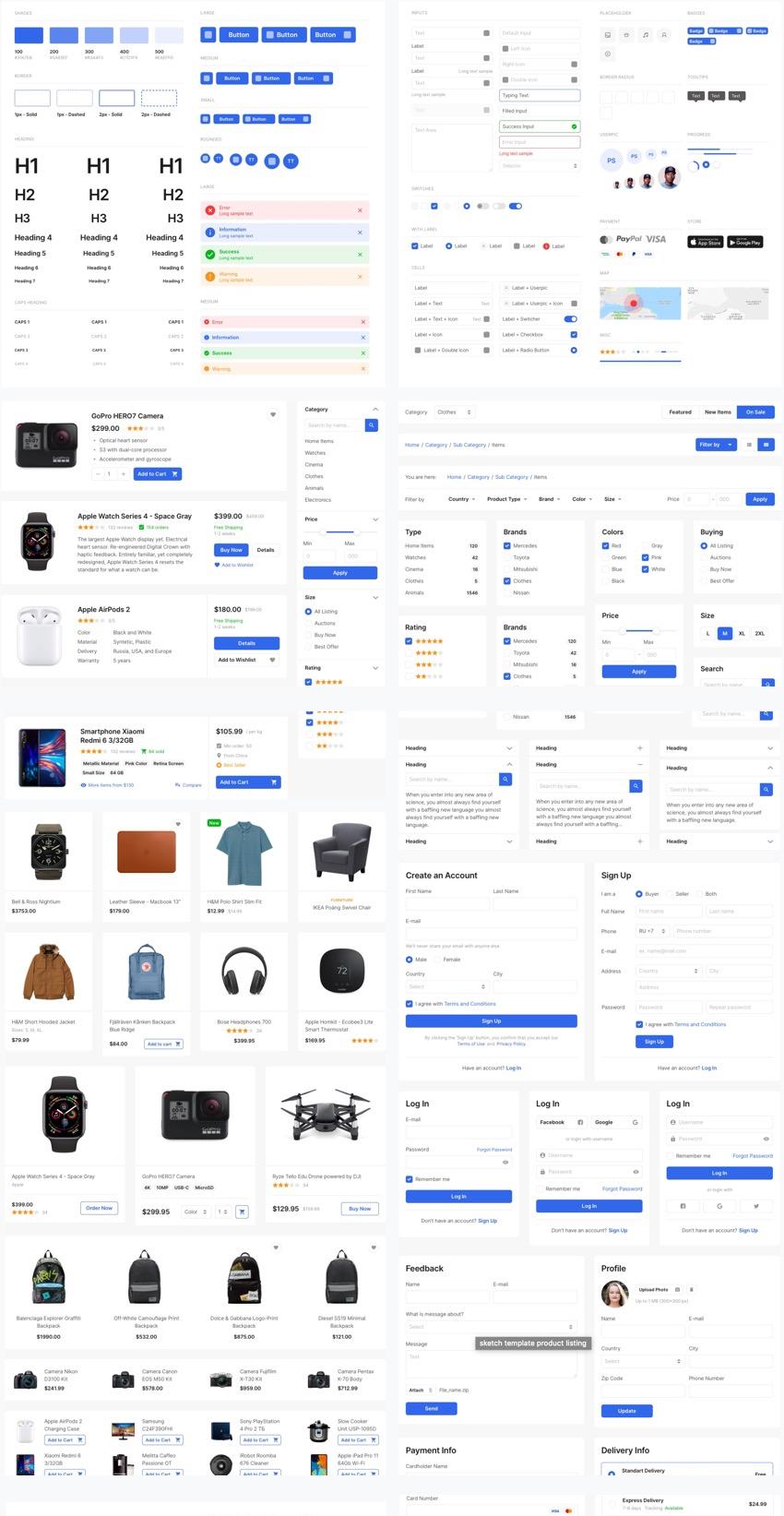 E-commerce UI kit for Sketch designers