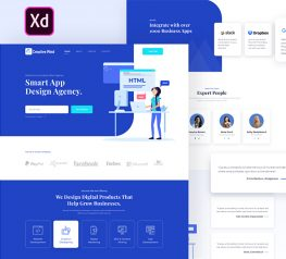Agency design template adobe xd flat ui screens