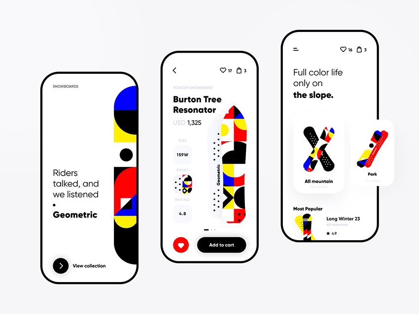 Snowboard app ecommerce slope
