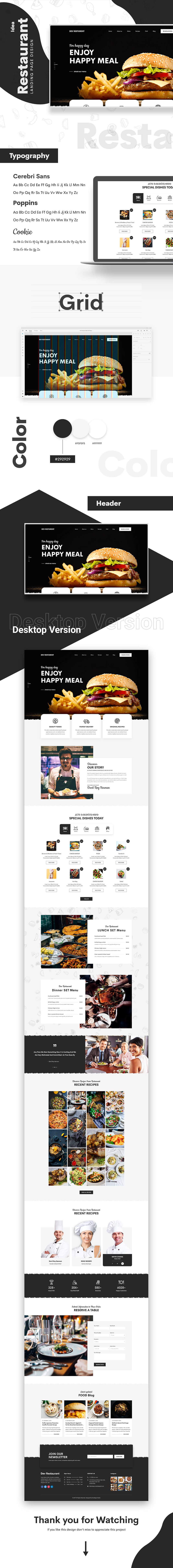 Clean Bistro Web Design - Restaurant Adobe Xd Concept for Free