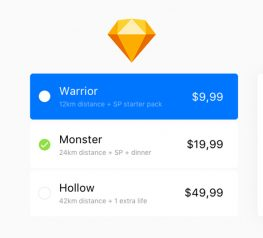 Bright pricing table in flat style sketch