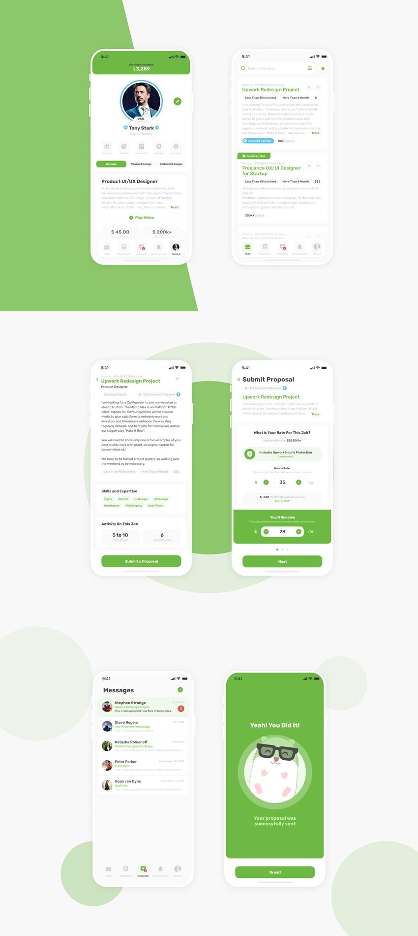 Upwork App Rededign for Figma