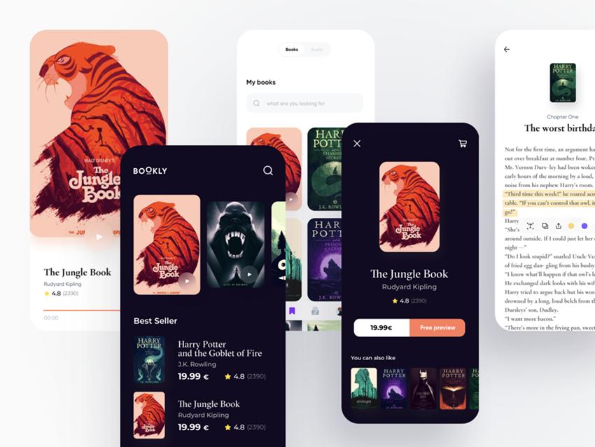 ebook reader app sketch design ui