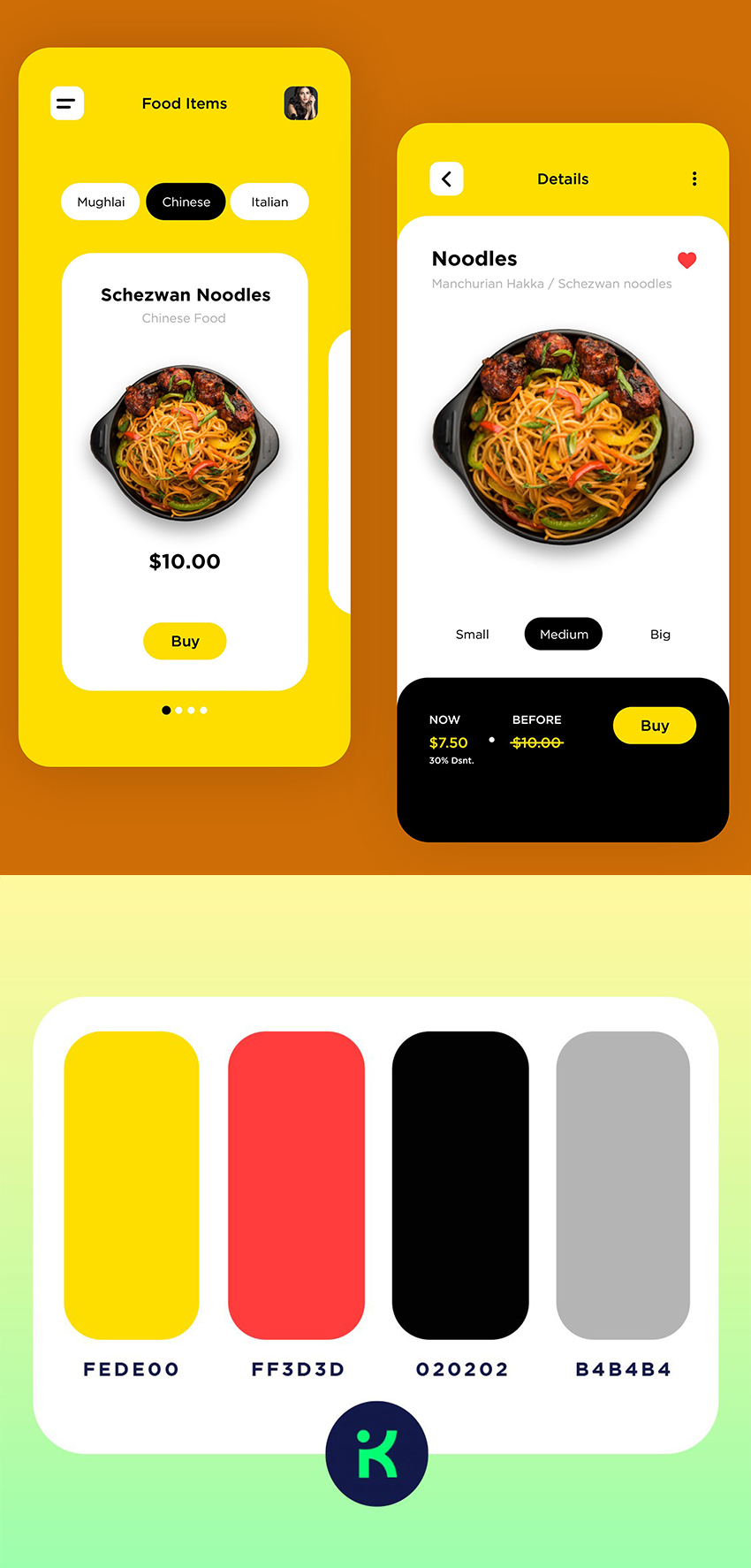 Food mobile app ui kit created with Adobe XD that aims to make identifying and ordering healthy foods effortless