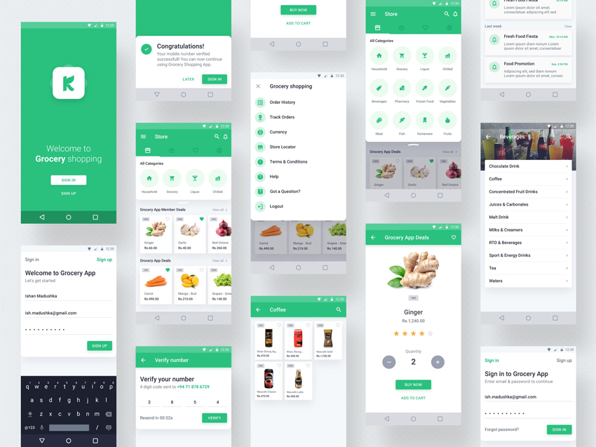 supermarket app design adobe xd freebie