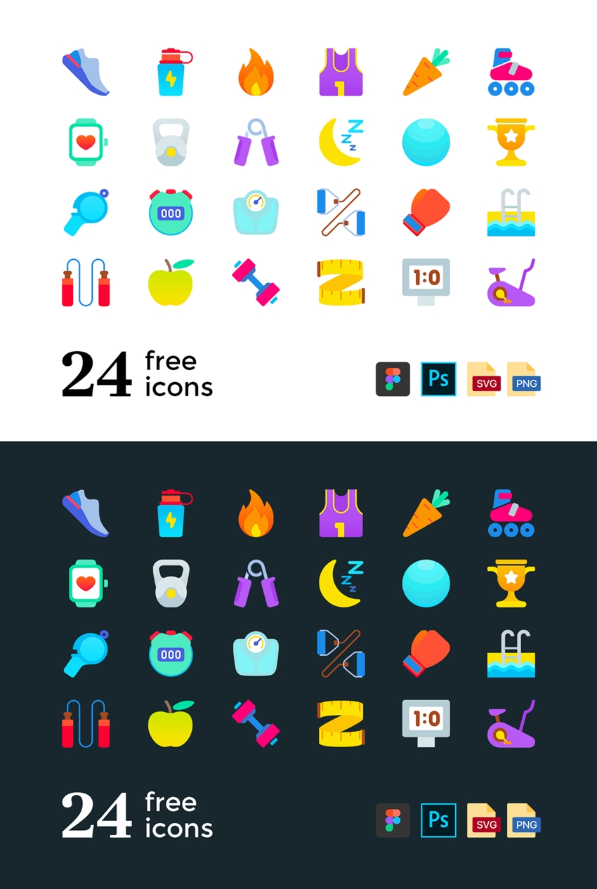 24 Vector Fitness and Sport Icons