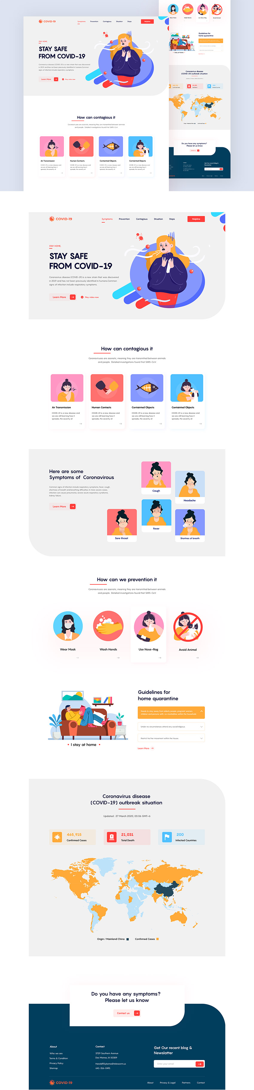 Covid Landing Page for Adobe Xd