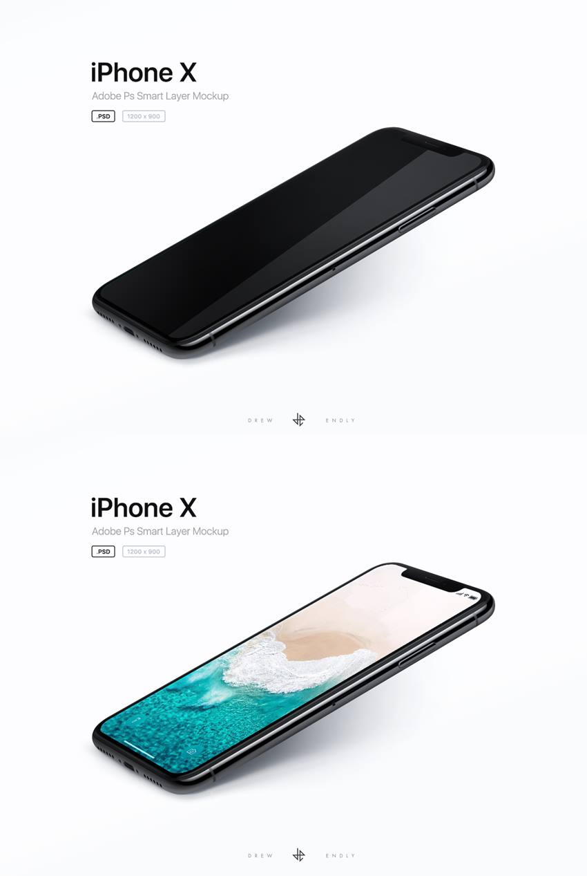 iPhone X Perspective Mockup for PSD