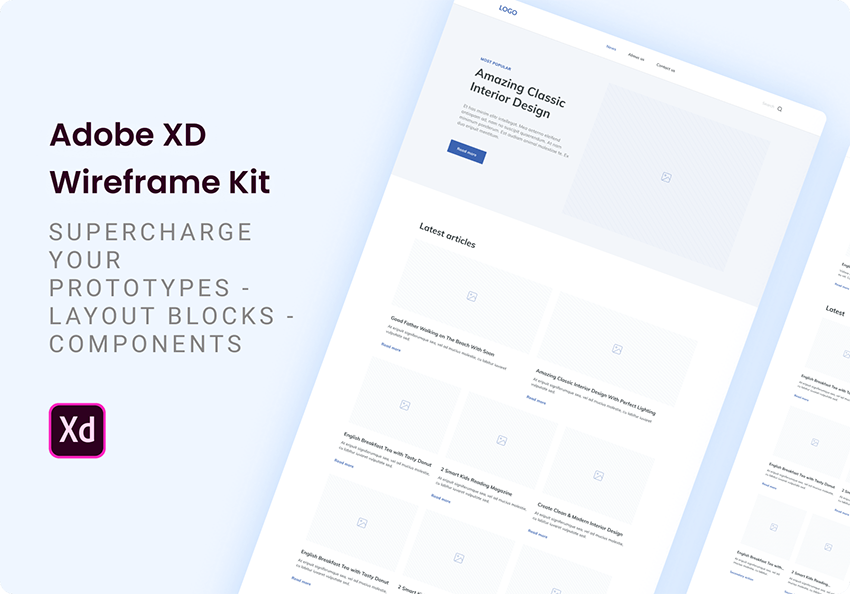 Simple wireframe kit Collection of components and UI elements for creating efficient website wireframes.