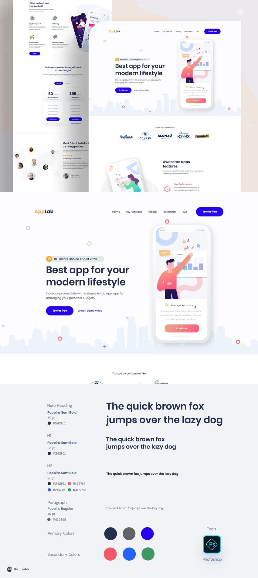Landing Page App Design