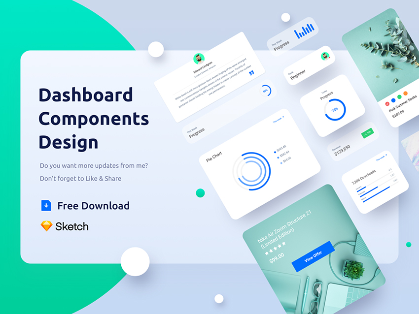 Dashboard Component kit All screens and elements are fully customizable, well-organized and come in Sketch file