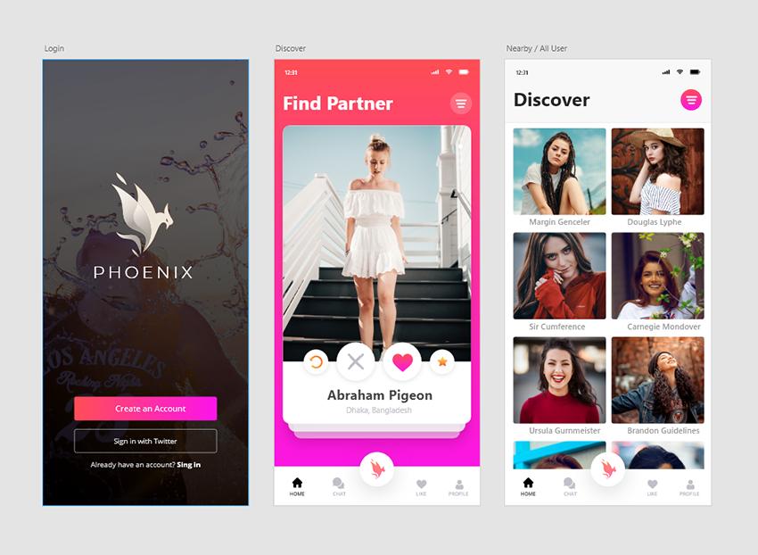 social meet dating find a partner app adobe xd