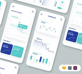 Metrics Dashboard UI Kit adobexd, figma, sketch, vector