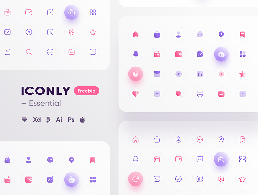 Iconly – Essential icons for sketch, adobexd and figma