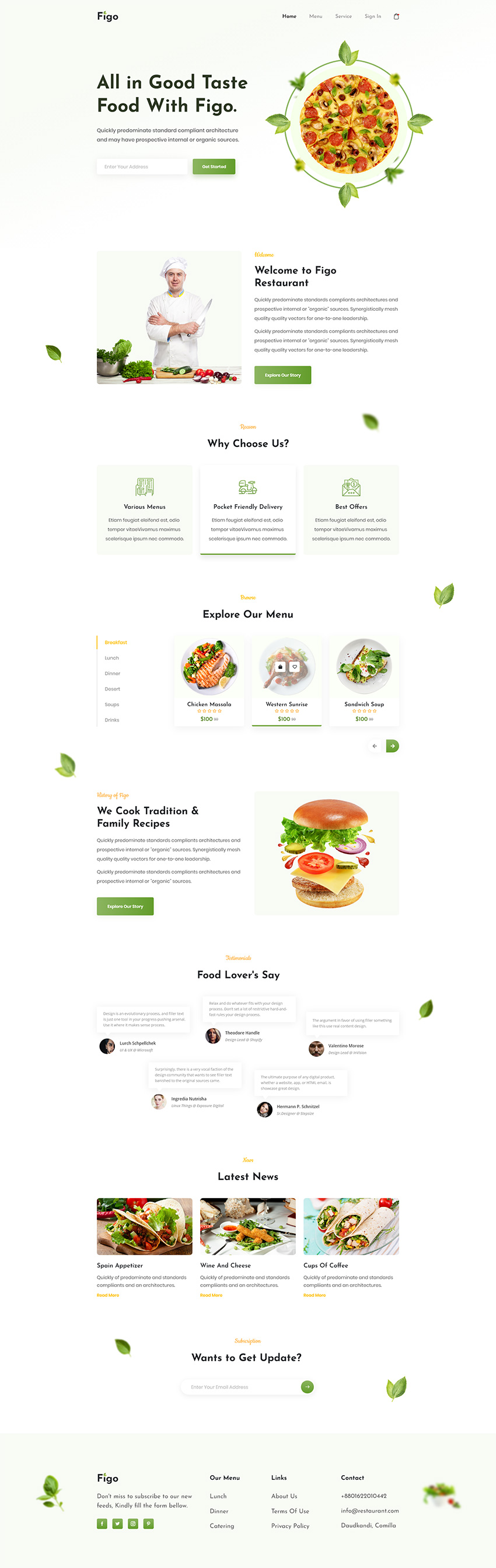 restaurant clean landing page provides supreme functionality and elegant design, rich feature pack and great ease of use