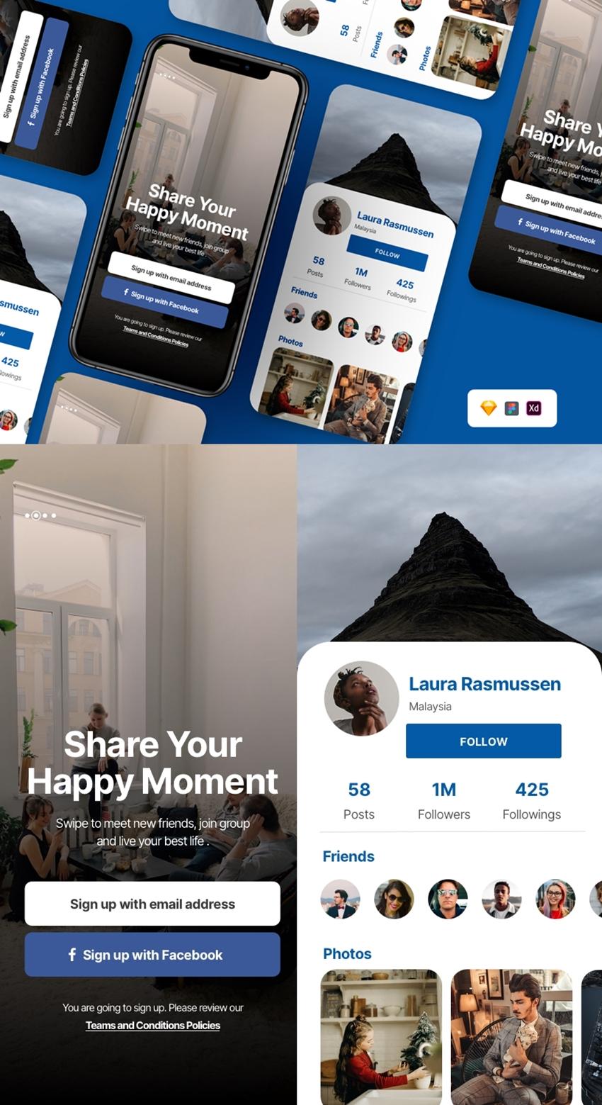 Social Media App Screens