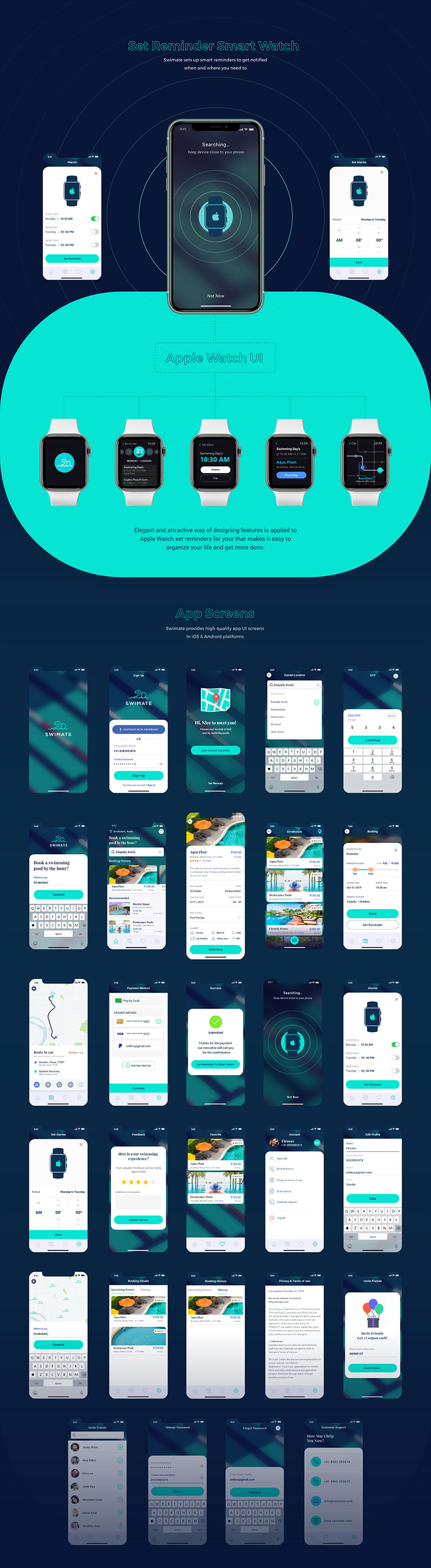 Rent a pool app with Material Design with Adobe xd for ios, Android, apple watch
