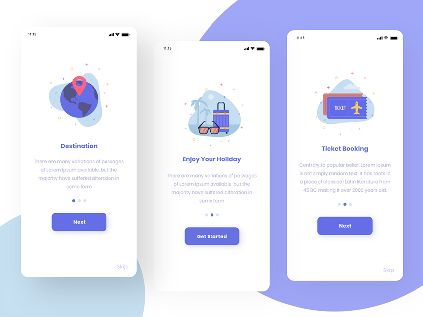 travell app start screens for adobexd
