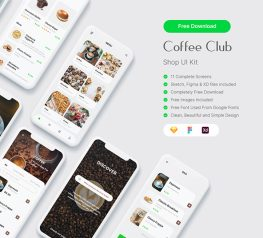 coffee app ui design made for Sketch, works in Figma and XD