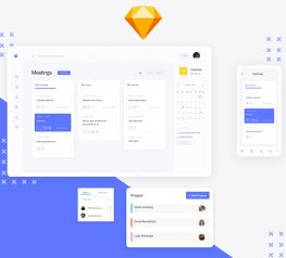 Team Work Dashboard UI Kit for sketch