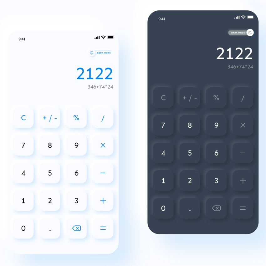 Calculator App UI Design for adobe xd